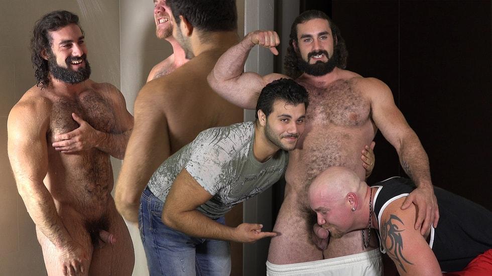 Muscle Bear Three Way Behind the Scenes
