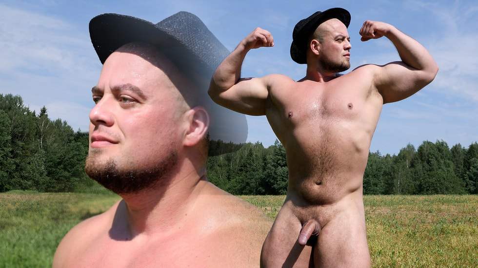 Russian Strongman Jerks Off in the Country